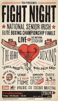 TG4 Fight Night | Publicis Dublin, Tg4, Print, Outdoor, Ads | Our handcrafted press advert & radio were designed to remind readers that Ireland is a proud boxing Nation and to tune into the National Elite Senior Boxing Championship Finals live on TG4 in their own home.