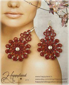 Glamour needle tatting earrings pattern