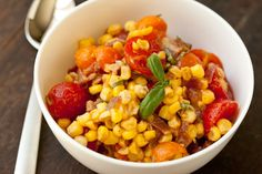 Sweet corn, bacon, and cherry tomato salad.