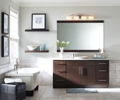 Contemporary Bathroom Vanities Contemporary bathroom vanity by Homecrest Cabinetry Contemporary Style Bathrooms, Contemporary Vanity, Modern Vanity, Modern Bathroom, Bathroom Ideas, Bathroom Inspiration, 24 Inch Bathroom Vanity, Floating Bathroom Vanities, Houston