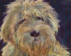 Goldendoodle Original Pastel painting by Karen Margulis psa