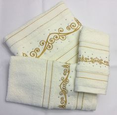 DECORATIVE IVORY 3PC TOWEL SET EMBROIDERED W/GOLD THREAD CRYSTALS EMBELLISHED  #KASSAFINA