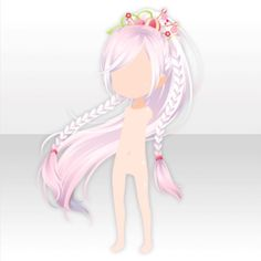 Plum Miko Braided Ponytail Hair ver.A white