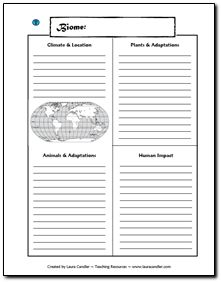 Free note-taking page for studying biomes. Students can complete one page for each assigned biome and assemble them into a booklet.