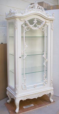 Chateau White Ornate Carved Display Armoire - Buy from the French Furniture Spec. - Chateau White Ornate Carved Display Armoire – Buy from the French Furniture Specialist: Nicky Cor - Chic Decor, Shabby Chic Dresser, Furniture Makeover, Shabby Chic Furniture Painting, French Furniture, Chic Furniture Modern, Shabby Chic Furniture, Shabby Chic Homes, Chic Furniture