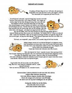 Mariaslekrum - Illustrerade fabler. Swedish Language, English Language, Learn Swedish, I In Team, Educational Activities For Kids, Saga, Back To School, Kindergarten, Crafts For Kids