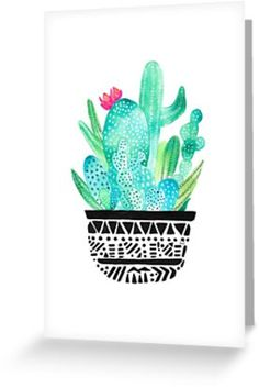 Minimal illustration inspired from the desert. Watercolor hues of blue and green with a black and white tribal pot. Cactus Art, Cactus Flower, Watercolor Cactus, My Themes, Cacti And Succulents, Print Pictures, Amazing Flowers, Greeting Cards, Art Prints