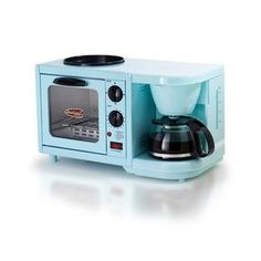 This bright, compact mini breakfast maker is the perfect addition to any dorm room, RV or small kitchen. Complete with a drip coffee maker, oven top griddle and toaster oven, you will be making Cuisine Elite, Mini Toaster, 4 Cup Coffee Maker, Coffee Brewer, Coffee Percolator, Egg Coffee, White Coffee, Bulthaup Kitchen, Travel Trailers