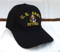 US ARMY RETIRED (BLACK) Military Veteran Hat 67 VV  BaseballCap Veteran Hats  696a82884cc