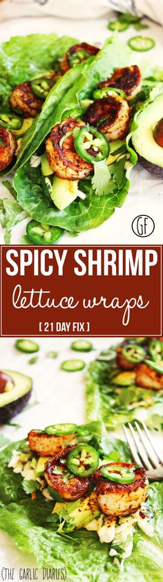 Spicy Shrimp and Avocado Lettuce Wraps Day Fix] - A crispy leaf of romaine lettuce piled high with honey lime slaw, fresh avocado, blackened shrimp, and jalapeños - a flawless combination of flavo(Spinach Recipes 21 Day Fix) 21 Day Fix, Seafood Dishes, Seafood Recipes, Cooking Recipes, Healthy Recipes, Dishes Recipes, Lunch Recipes, Free Recipes, Keto Recipes