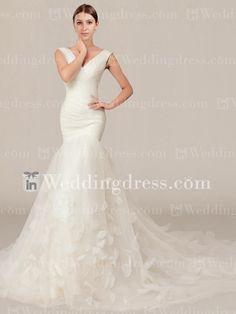 Organza Mermaid Wedding Gown with Petals $232