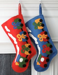 Handmade Wool Felt Christmas Stocking Celebrate by MyPerennial, $65.00