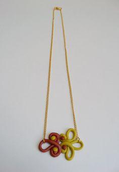 FREE SHIPPING Ying Yang Pendant Necklace  Terracotta & por Portenya