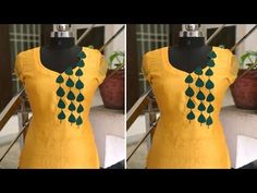 Beautiful Front Neck Design with Handmade Patches in Easy Way Chudidhar Neck Designs, Dress Neck Designs, Sleeve Designs, Blouse Designs, Hand Designs, Embroidery Suits, Hand Embroidery, Plain Kurti Designs, Diy Clothes Design
