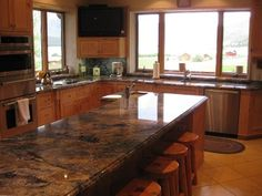 log cabin kitchen granite | Gourmet Kitchen -- Cabinets and Granite Counters with Views of Hebgen ...