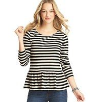 Striped Peplum Hem Long Sleeve Top - Turn on the charm with an exceptionally cute knit top, starring sweet candy cane stripes and an even sweeter peplum hem. Scoop neck. Long sleeves. Banded neckline.