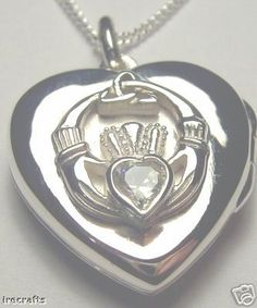 Sterling Silver Diamond Claddagh Locket Irish Made celtic white ring heart a v Claddagh Symbol, Claddagh Rings, Simple Minds, Heart Locket, Silver Diamonds, Celtic, Irish, Heart Ring, Pendant Necklace