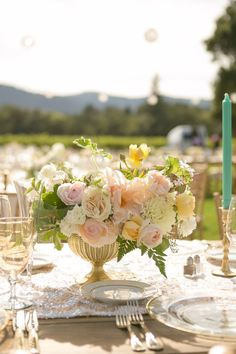 Tasteful Mint Sonoma California Wedding from A Savvy Event - wedding centerpiece idea