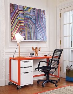 "Go tangerine with the Go-Cart Bright Orange Console Table. Similar in style to the desk but narrower, the piece is still roomy enough for file cabinet.etc.CAD $169.00 reg. CAD $199.00 55""W x 21""D x 29.5""H"