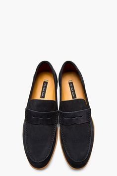 Men's Fashion: PS PAUL SMITH Slate Blue Suede Penny Loafers #shoes #darkblue