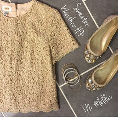 HP Gold Lace Top Talbots Gold button up the back top. With scallop detail at the bottom. Short sleeves. Made in USA. *Shirt only shoes not included* Talbots Tops Button Down Shirts