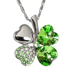 Four Leaf Clover Heart Shaped Swarovski Elements Crystal Pendant Necklace - Green