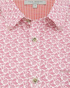 Short sleeve plant print shirt - Red | Shirts | Ted Baker