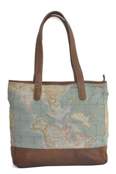World map atlas print backpack genuine leather limited edition brown leather and world map atlas fabric tote bag this bag is completely lined with canvas to ensure that it is strong and sturdy it has a zipped gumiabroncs Gallery