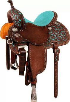 Beautiful western turquoise saddle