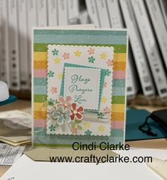 Using the very diverse PLEASED AS PUNCH DSP and the SMALL BLOOM PUNCH from SALE-A-BRATION, this card makes me smile!  The DSP has 3 different coordinating punches you can use!  Talk about easy.  Find these items and more on my website: www.craftyclarke.com   Thanks for stopping by :)