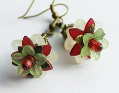 Lucite Flower Earrings Leaf Details Cranberry by apocketofposies, $24.00