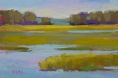 Landscape Painting Yellow Marsh fine ART Original Pastel Painting GREEN