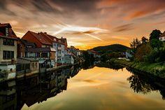#architecture #bright #clouds #dawn #dusk #eschwege #evening #gold #golden #houses #lake #landscape #mirroring #morgenstimmung #nature #outdoors #reflection #river #romantic #sky #summer #sun #sunrise #sunset #town #trave