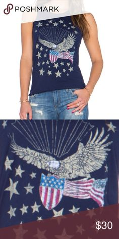 """{Chaser} Patriotic Eagle Tank Top Super soft and flowing tank in a decidedly Patriotic theme. Dark navy with eagle/flag/stars design. Chaser tees are made to look distressed. Perfect for picnics or celebrating your """"country"""" down home roots! Chaser Tops Tank Tops"""