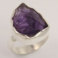 Fabulous Ring Size US 7.75 Natural AMETHYST Gemstone 925 Sterling Silver Jewelry #Unbranded