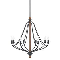 Living room option. Need 4. $139 Lowe's Kichler Lighting Carlotta 8-Light Distressed Black and Wood Chandelier