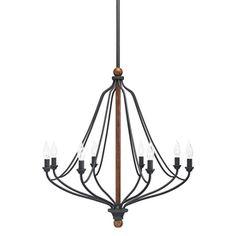 Living room option. Need 4. $139 Lowe's Kichler Lighting Carlotta 8-Light Distressed Black and Wood Chandelier