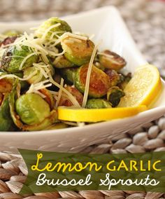Sauteed Lemon-Garlic Brussel Sprouts - I made these for Christmas dinner. They are delicious! Lemon Recipes, Side Dish Recipes, Vegetable Recipes, Vegetarian Recipes, Cooking Recipes, Healthy Recipes, Yummy Recipes, Garlic Brussel Sprouts, Brussels Sprouts