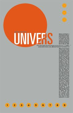 Univers. By Adrian Frutiger in 1954.  Simple and compelling. Minimal use of color. Organization of paragraph and letters.