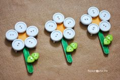 I will admit it, I am going a little daisy-crazy over here! These button/clothespin/craft stick daisies are easy for kids to do and would make a fun Summer vacation project. You could use different color buttons and craft paper to make a variety of flowers! Turn it into a color sorting/matching game for younger kids … #artsandcraftsshop,