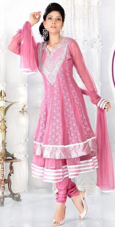Pink Full Sleeve Net Anarkali Suit 14017