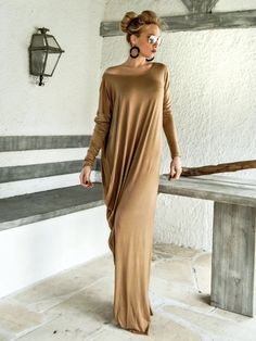 Camel Taupe Maxi Dress Kaftan with Nude See-Through Detail / Asymmetric Open Back Dress / Oversize Loose Dress / #35078  This elegant, sophisticated, loose and comfortable maxi dress, looks as stunning with a pair of heels as it does with flats. You can wear it for a special occasion or it can be your comfortable dress. - Handmade item  - Materials : viscose, transparent elastic tulle with 100% transparency   * Please Note : To keep a stock of a large variety of colors, they may have slight…