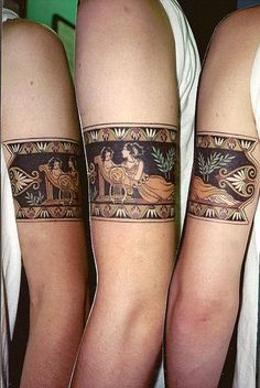 Nice and detailed looking arm tat of an ancient Greek scene.