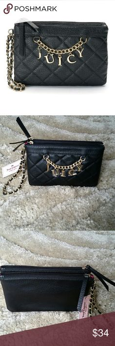 """Juicy Couture Quilted Chain Wristlet Add a sophisticated touch to your wardrobe with this beautiful Juicy Couture wristlet. Features """"Juicy"""" charm and chain accent, quilted design, gold-tone hardware, two pockets, double zipper closure and wrist strap. Size: 6""""H/9""""W/1.5D. Faux leather. Juicy Couture Bags Clutches & Wristlets"""
