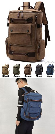 Retro Washing Color School Backpack Travel Outdoor Backpack Large Capacity Boy's Cavnas Zipper Backpack for big sale! #large #travel #backpack #Bag #school #college #girl #student #rucksack #leisure #fashion #camping
