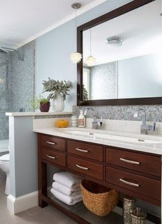 Half-wall separating bathroom double sink from commode & shower.  South Shore Decorating Blog: A Local Interior Designer I Love: Rachael Reider