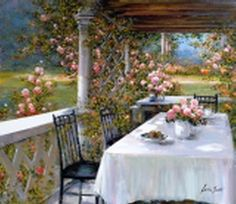Breakfast in the Garden     Artist   Lucia Sarto      Subject   Italy     Medium   Oil on Canvas     Category   Painting     Circa   2007     Dimensions   H 28in x W 32in Solid Wood Pergolas at www.WesternTimberFrame.com