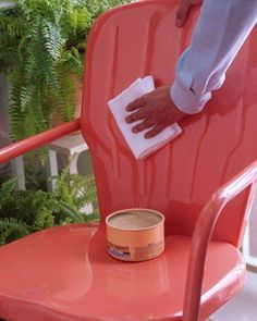 B.I.G. Tip of the Day! Use Carnuba Wax on your outdoor metal furniture! Metal Protector! The same carnauba paste wax that maintains a car's finish does a dynamite job on painted metal furniture. Once a season, apply an even coat with a damp terry cloth towel to furnishings; let dry, then lightly buff with a soft cotton rag. The wax will repel water, preventing rust, and also restore luster to dull paint.