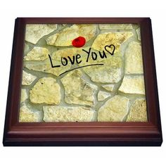 3dRose Love You on a Stone Wall - Fun Art, Trivet with Ceramic Tile, 8 by 8-inch