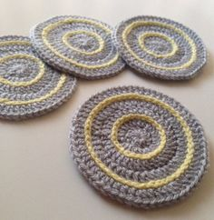 Crochet Coasters in Light Grey and Lemon  Set of 4 by kylieB, $15.00